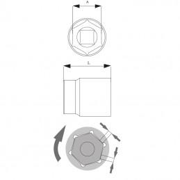 Cheie tubulara hexagonala 1/2'' 22mm