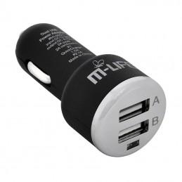 ALIMENTATOR AUTO USB DUAL 2A M-LIFE ML0001