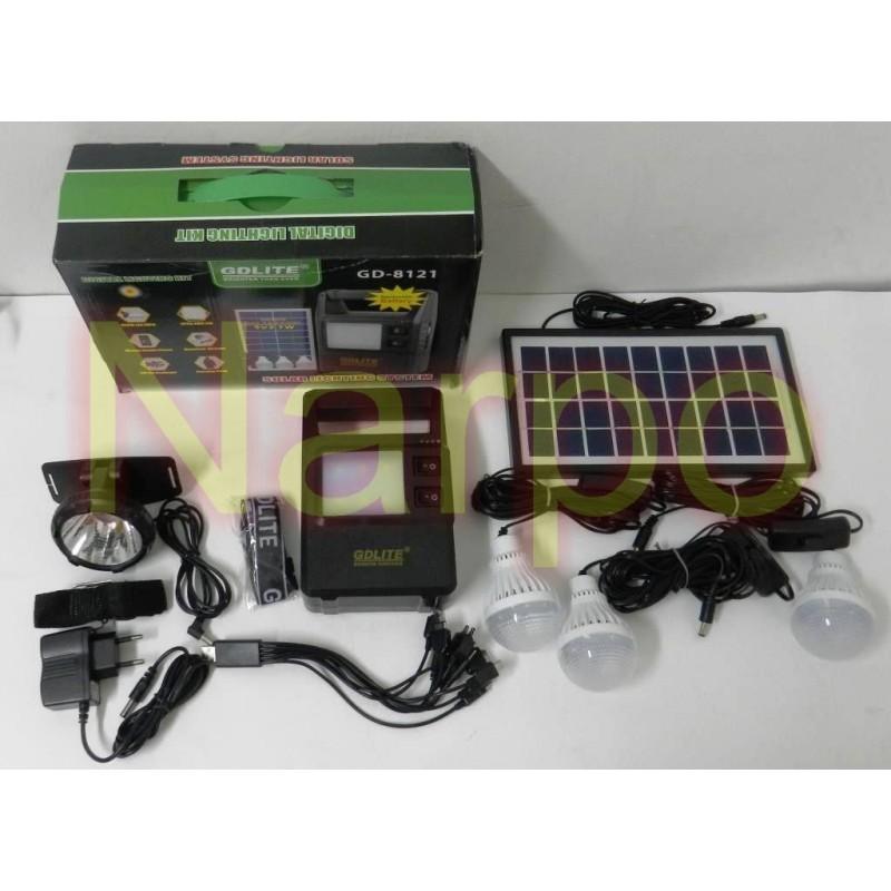Kit Solar panou 7W GD-8121 + USB + Lanterna cap + 3 becuri + Acumulator 6V4A