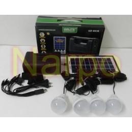 Kit Solar panou 7W GD8038 + USB + Lanterna + 4 becuri led + Acumulator 6V4A