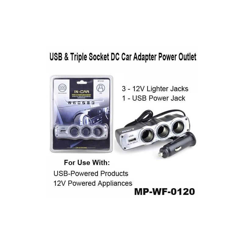 Priza auto 3 iesiri + 1 USB 12V / 24V WF-0120 cu fir