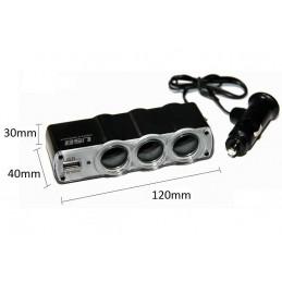 Spliter Priza auto 3 iesiri + 1 USB 12V / 24V WF-0120 cu fir