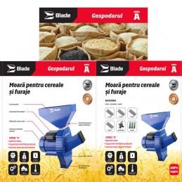 Moara pentru cereale si furaje, coceni de porumb, bobinaj cupru, 2.7kW, intrerupator, Blade, MR0001