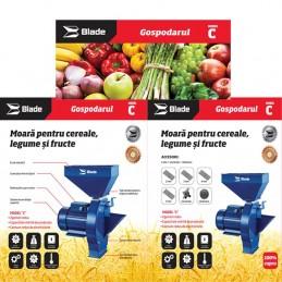 Moara pentru cereale, legume, fructe, bobinaj cupru, 2.7kW, intrerupator, Blade, MR0003