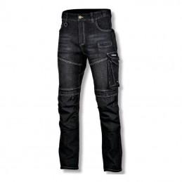 Pantalon lucru tip-blugi slim-fit elastic inchisi