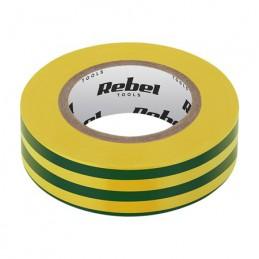Banda izolatoare 0.13X19X10YD verde/galben REBEL