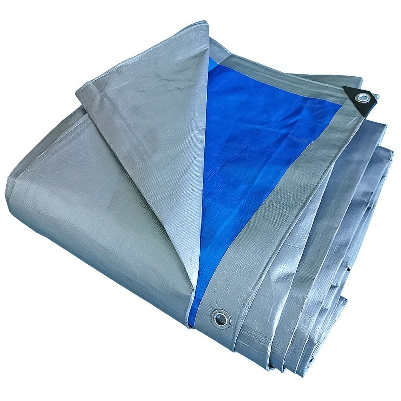 Prelata impermeabila rezistenta UV, 6x10 metri, 180 g/mp, inele de prindere, argintiu-albastru