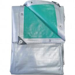 Prelata impermeabila rezistenta UV, 3x4 metri, 220 g/mp, inele de prindere, argintiu-verde, laminata
