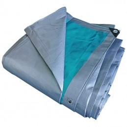 Prelata impermeabila rezistenta UV, 6x8 metri, 220 g/mp, inele de prindere, argintiu-verde, laminata