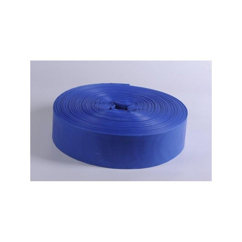 Furtun plat din PVC refulare pompa 2 toli 50 m albastru insertie panza
