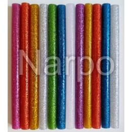 Set 12 bare de silicon colorat cu sclipici pistol de lipit 7mm 10cm