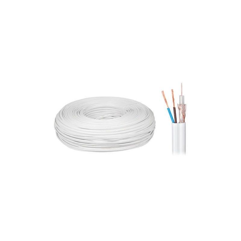 Cablu coaxial cu alimentare cupru 75 2x0.5mm 100 metri