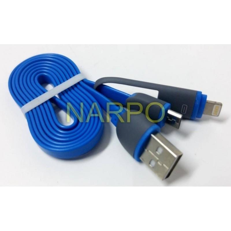 Cablu USB 2in1 microUSB + iPhone 5 - 1M Albastru