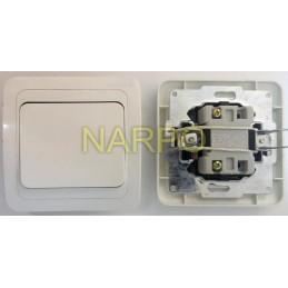 Intrerupator ST simplu, incastrat, ceramica, rama inclusa, alb
