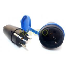 Set cupla + stecher IP44 16A capac albastru