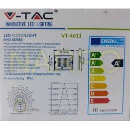 PROIECTOR LED 10W 6000k 850LM IP65 EXTERIOR ALB RECE V-TAC