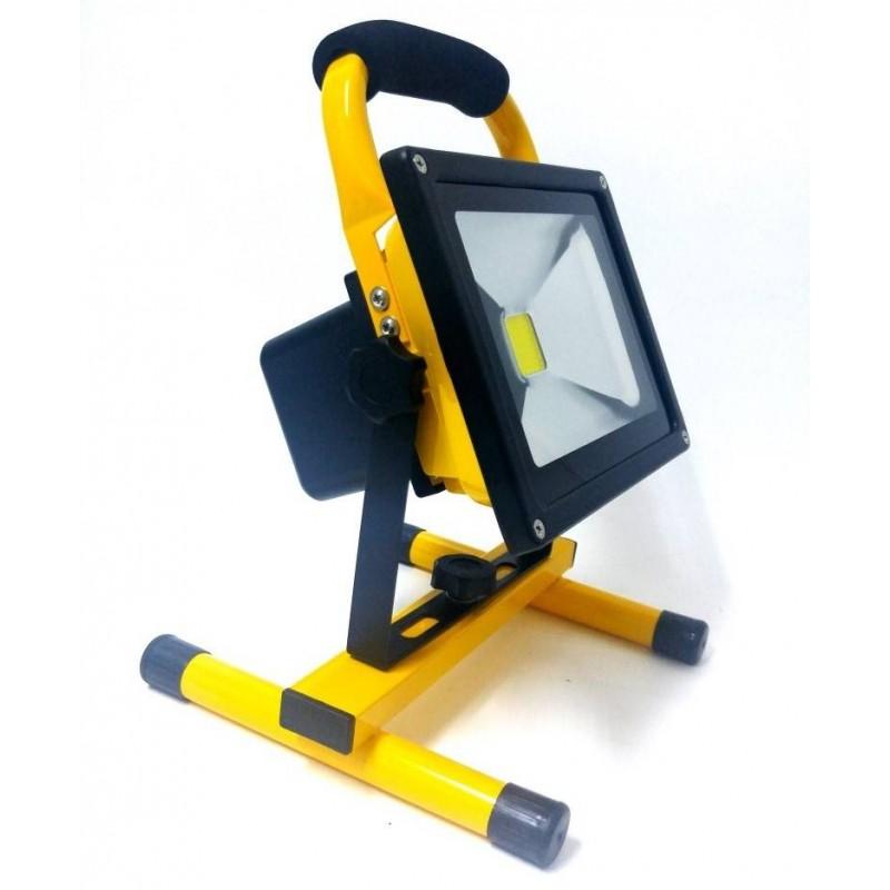 Proiector LED cu Acumulator 20W Alb Rece cu suport