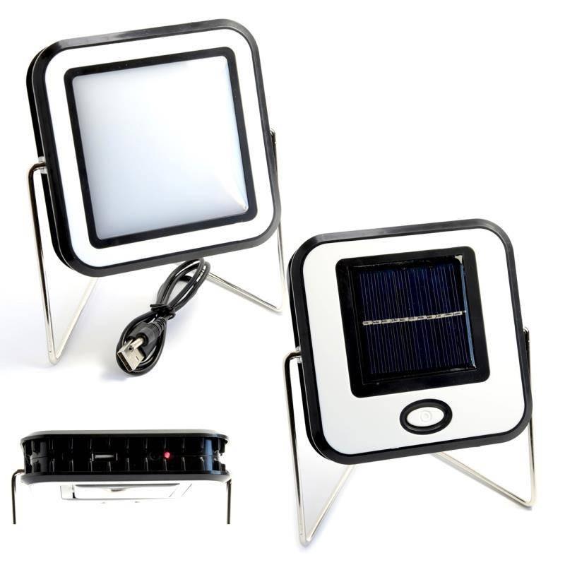 Proiector COB LED 10W Alb Rece Panou Solar USB