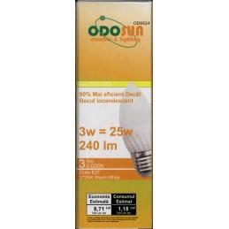 Bec cu led E27 3W ceramic 2700K lumina calda Odosun C37 240LM 25W