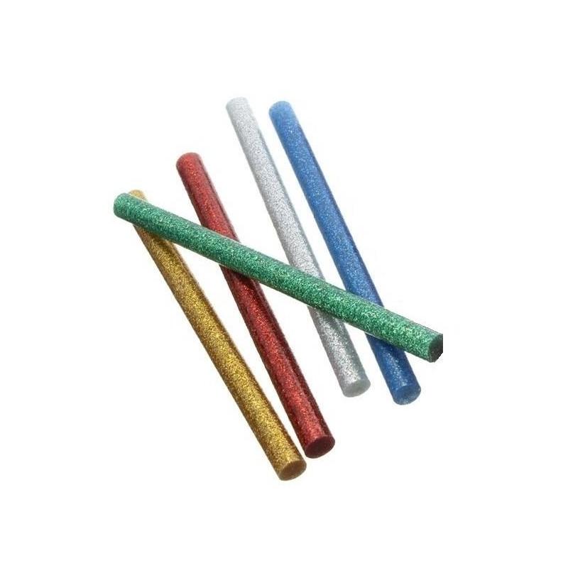 Set 10 batoane silicon colorat cu sclipici 7mm 20cm