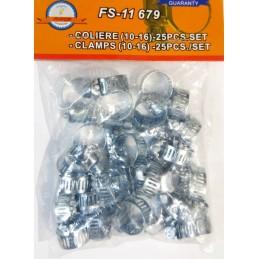 Coliere metalice cu surub pentru furtun 10-16mm, 3/8 inch, set 25 buc