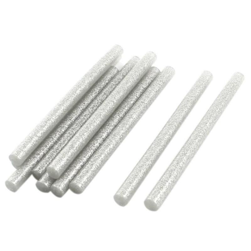 Set 10 batoane silicon argintiu cu sclipici 7mm 20cm