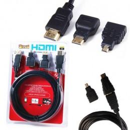 Kit cablu HDMI 1.5 metri cu adaptor mini HDMI micro HDMI