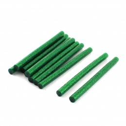 Set 10 batoane silicon verde cu sclipici 11mm 20cm