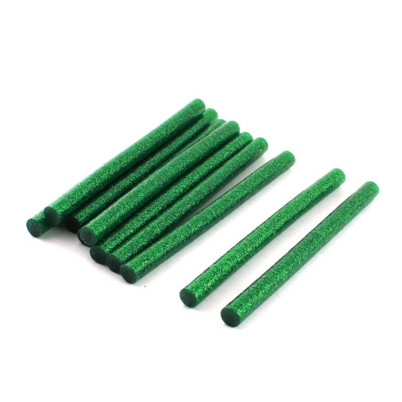 Set 1kg batoane silicon verde cu sclipici 11mm 20cm 50buc