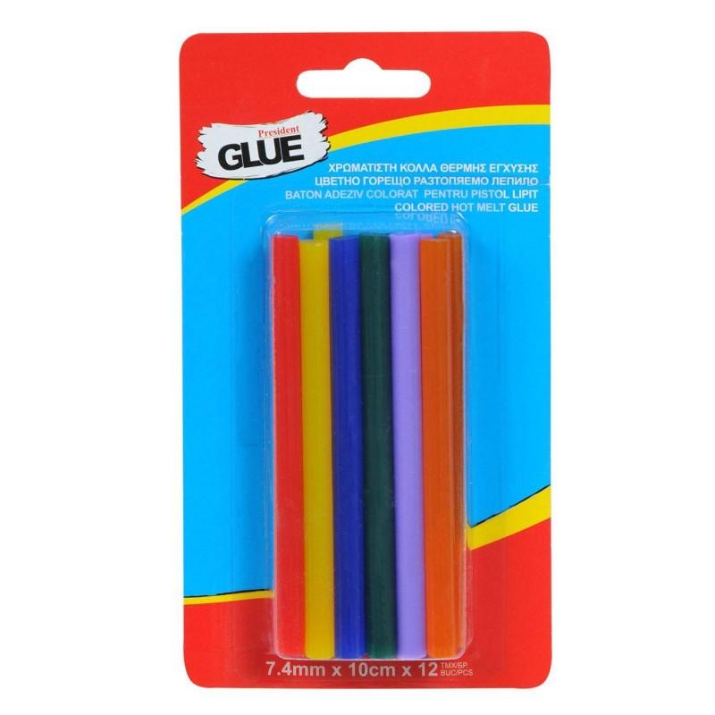 Set 12 baghete de silicon colorat 7mm, 10cm