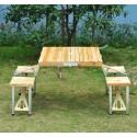 Masa camping cu 4 scaune, lemn + metal, pliabila, tip valiza
