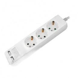 Prelungitor cu 3 CAI + 2xUSB 1.5M (3G1.5MM2) alb,V-TAC, SKU-8774