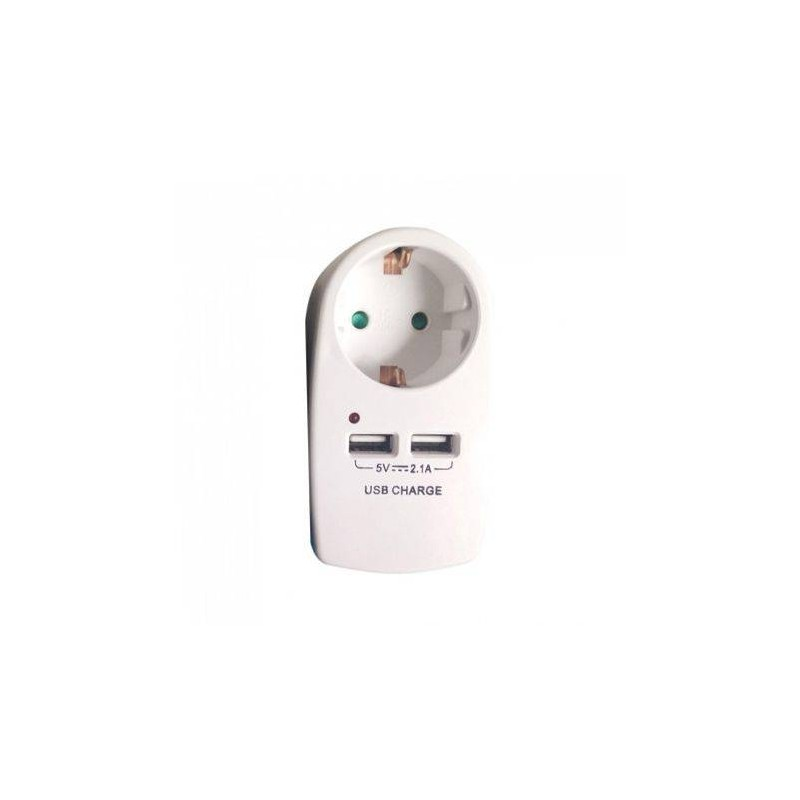 Adaptor priza 16A, cu USB 2.1A, 3680W, alb, V-TAC, SKU-8795