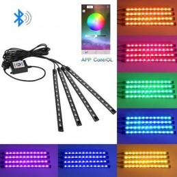 Kit lumini LED RGB 5050 4x12 LED interior auto senzor muzica conectare bluetooth