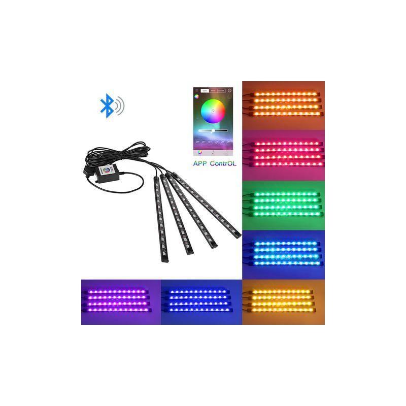 Kit lumini LED RGB 5050 4x12 LED interior auto senzor muzica conectare bluetooth