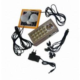 Kit Solar panou 2.5W BB9118 + USB + Lanterna + 2 becuri led + Acumulator 4V2.5A