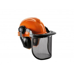 Casca protectie cu viziera tip plasa si antifoane ABS + HDPE 51-63cm, FloraBest