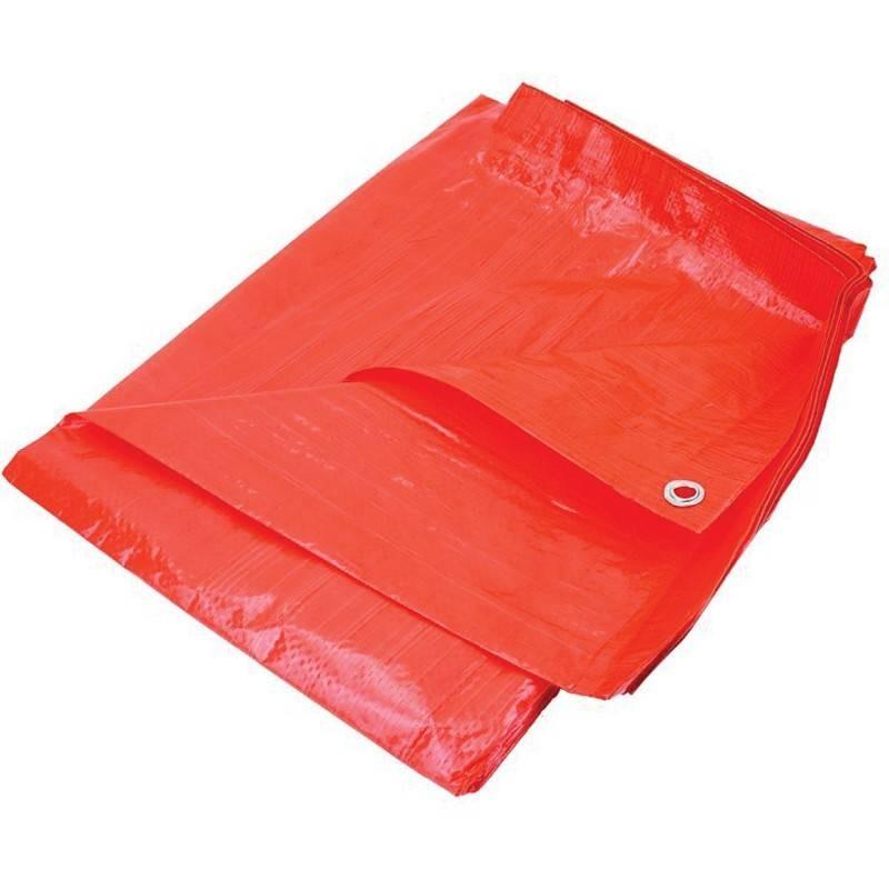 Prelata impermeabila rezistenta UV, 5x8 metri, 80 g/mp, inele de prindere, portocaliu