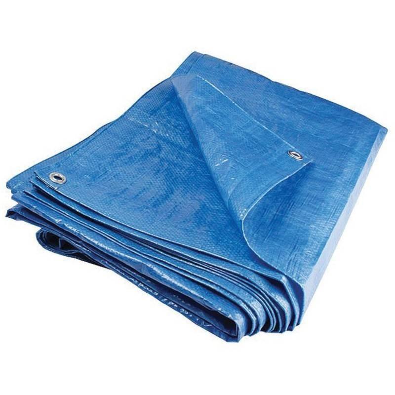 Prelata impermeabila rezistenta UV, 6x8 metri, 80 g/mp, inele de prindere, albastru