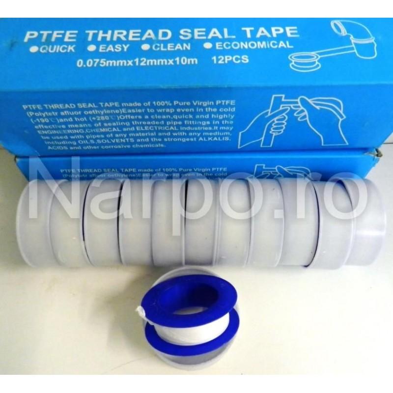 Set 10buc Banda teflon pentru instalatii PTFE 12mmx0.075mmx10m