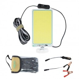 Lampa lucru led cob 105x62mm, magnet, alimentare 12V, adaptor bricheta, clesti conectare la baterie