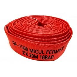 "Furtun pompier 2"" 20 metri, 16 bar, cauciucat, rosu, tip C, fara racorduri"