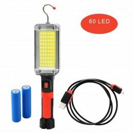 Lampa LED cu acumulator, 20W, portabila, magnetica, cu carlig, incarcare USB