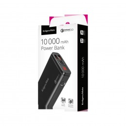 Power bank Kruger&Matz 10000 mAh cu functie Quick Charge, 2 porturi USB
