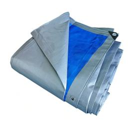 Prelata impermeabila rezistenta UV, 8x12 metri, 180 g/mp, inele de prindere, argintiu-albatru, laminata