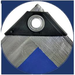 Prelata impermeabila rezistenta UV, 10x15 metri, 180 g/mp, inele de prindere, argintiu-albatru, laminata