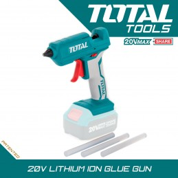 Pistol de lipit cu batoane de silicon, acumulator 20V, diametru baton 11.2mm, TOTAL