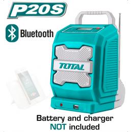 Boxa portabila / radio cu acumulator 20V, difuzor 3W, Bluetooth 4.0 TOTAL (fara acumulator si incarcator)