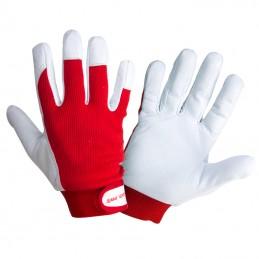 Manusi de protectie din piele ovina, manseta ajustabila, diverse marimi, LAHTI PRO, certificat CE, standard EN 420, alb/rosu